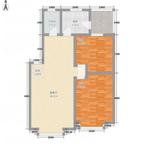 江畔首府2室1厅1卫1厨113.00㎡户型图