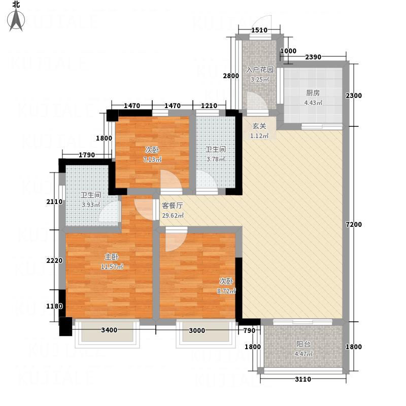 广安明发国际广场12.62㎡B3户型3室2厅2卫1厨