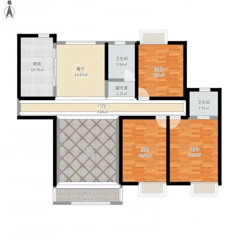置地新唯花园3室3厅2卫1厨166.00㎡户型图