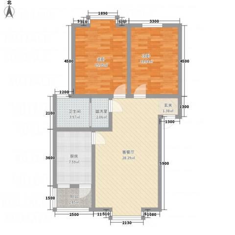 江畔首府2室2厅1卫1厨105.00㎡户型图