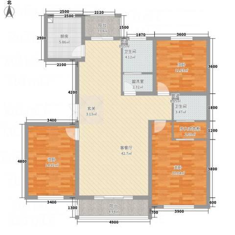 祥和嘉园3室2厅2卫1厨159.00㎡户型图