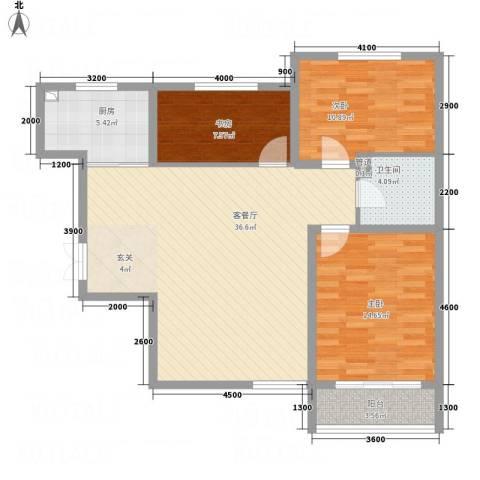 祥和嘉园3室1厅1卫1厨118.00㎡户型图