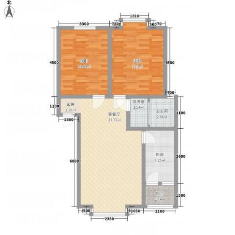 江畔首府2室2厅1卫1厨100.00㎡户型图