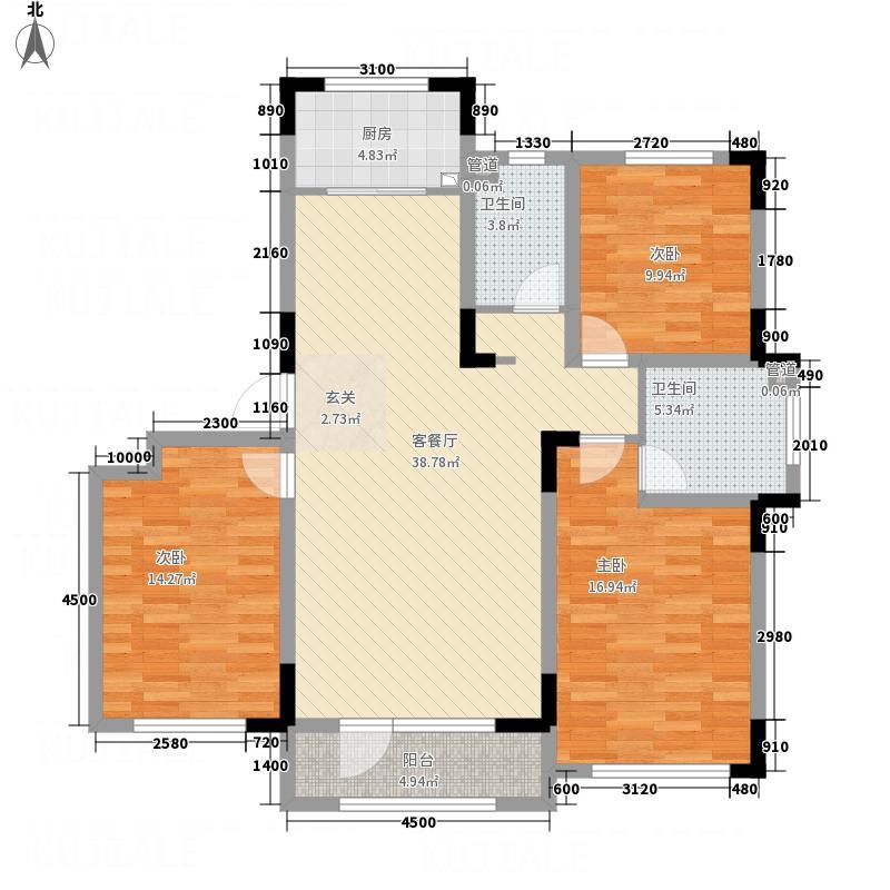 海泉湾・霞光府125.77㎡户型3室2厅2卫1厨