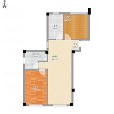 书香门第1室1厅1卫1厨87.00㎡户型图