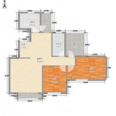 锦联・经典名郡2室1厅1卫1厨130.00㎡户型图