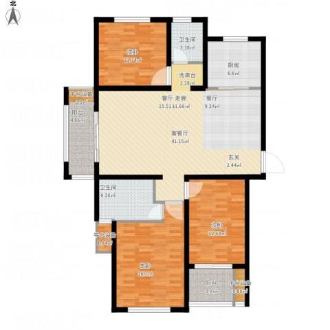鑫苑景城3室1厅2卫1厨157.00㎡户型图