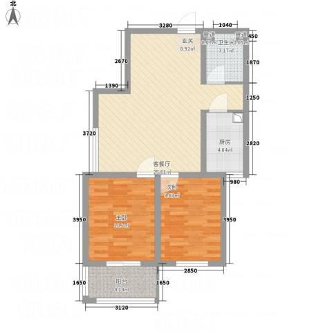 全都城悦府2室1厅1卫1厨84.00㎡户型图