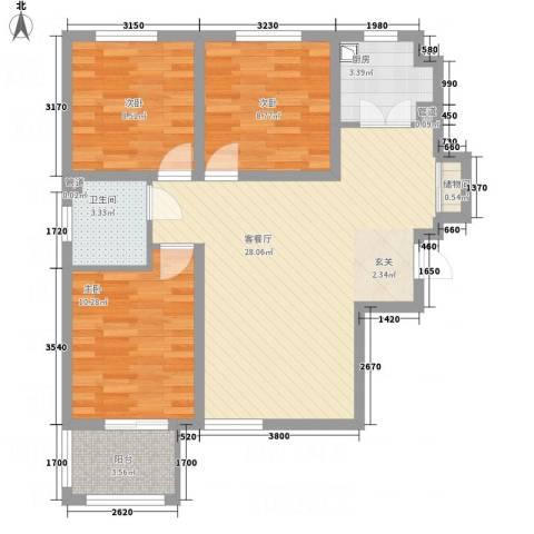 全都城悦府3室1厅1卫1厨66.57㎡户型图