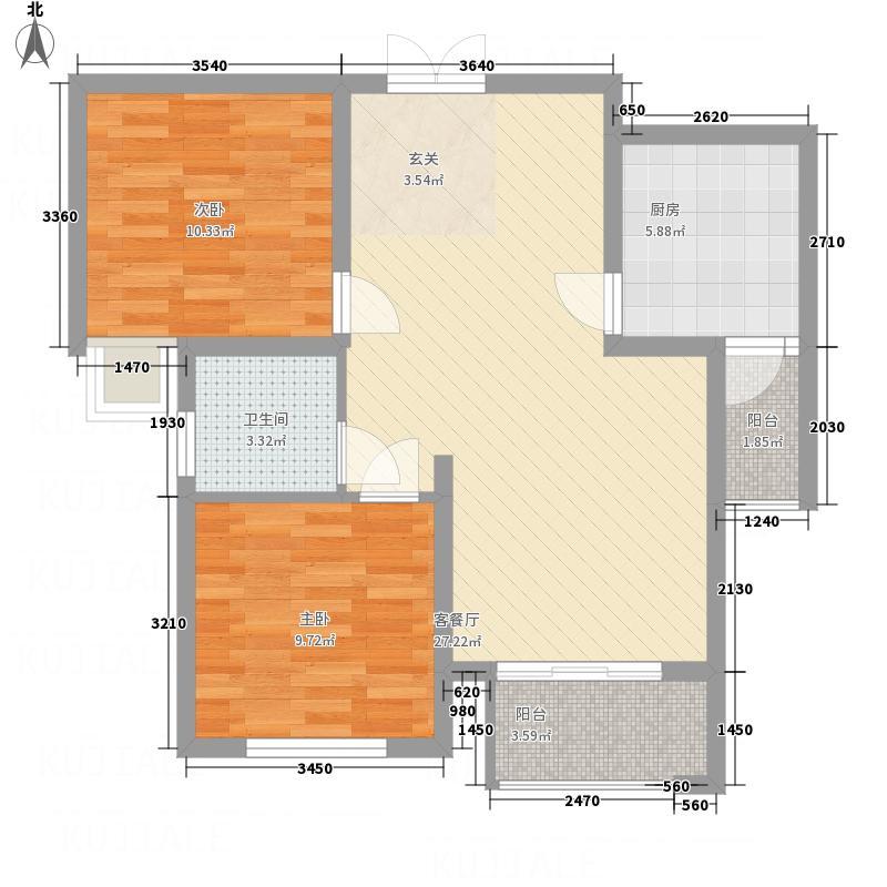 德城・紫云府B3户型2室2厅1卫1厨