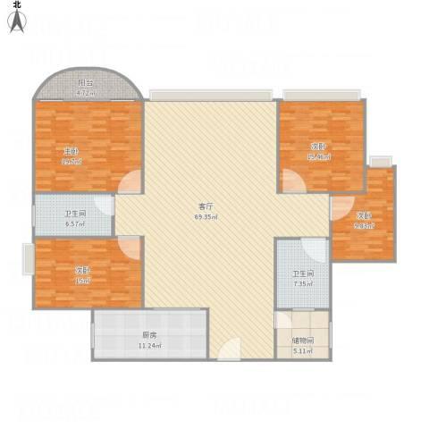 世邦一水岸4室1厅2卫1厨218.00㎡户型图