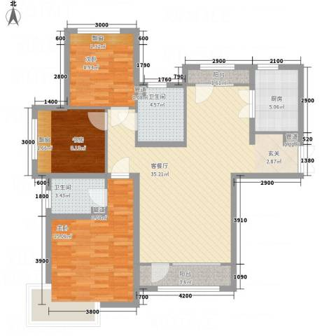 中信�台3室1厅2卫1厨85.99㎡户型图