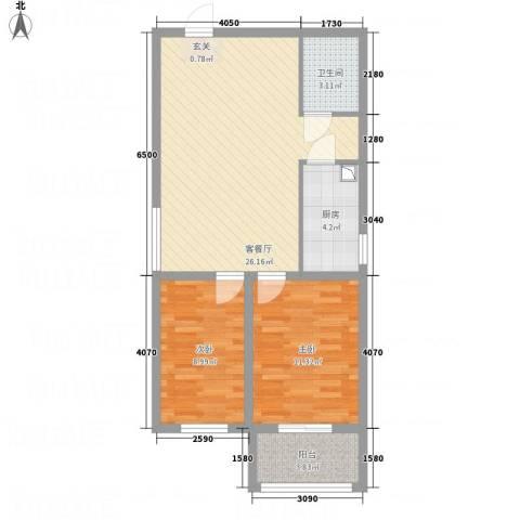 全都城悦府2室1厅1卫1厨83.00㎡户型图