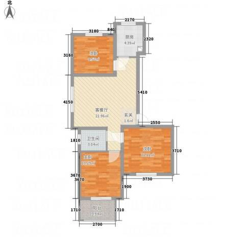 全都城悦府3室1厅1卫1厨64.29㎡户型图