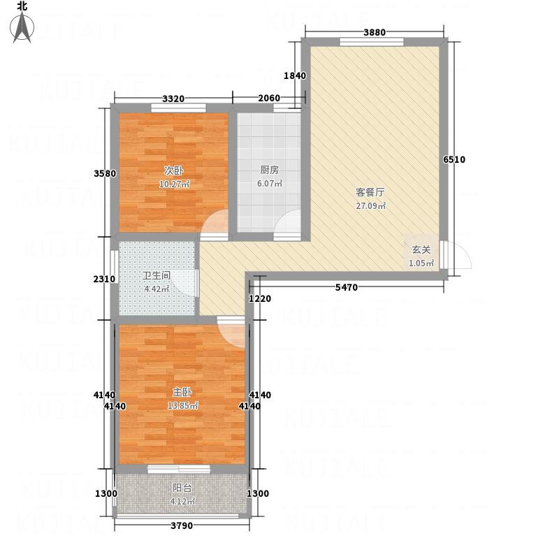 张垣新城4.54㎡10号楼A户型2室2厅1卫1厨