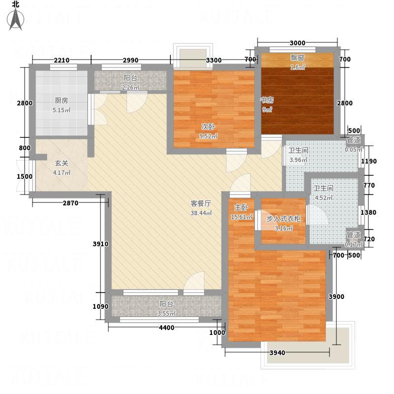 中信�台14.00㎡一期2号楼标准层01户型3室2厅2卫1厨