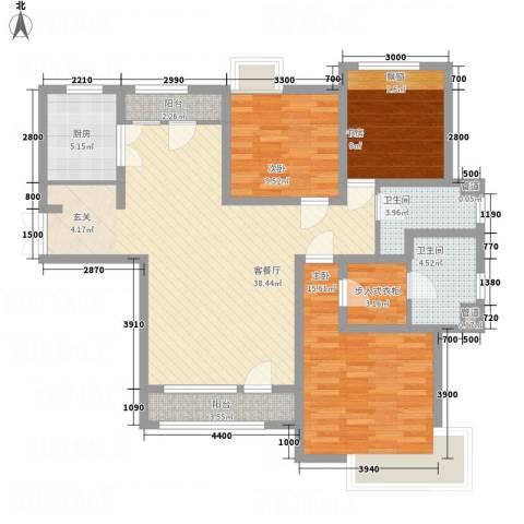 中信�台3室1厅2卫1厨95.39㎡户型图