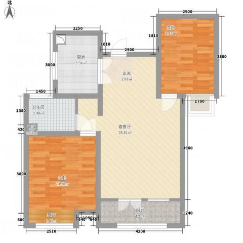 中信�台2室1厅1卫1厨89.00㎡户型图