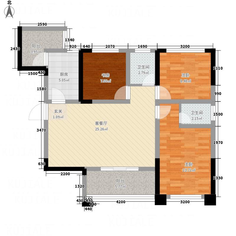 聚城峰华338.56㎡A3户型3室2厅2卫1厨