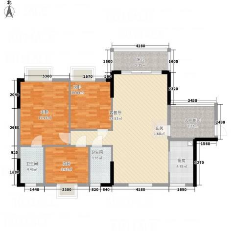 凯旋美域3室1厅2卫1厨133.00㎡户型图