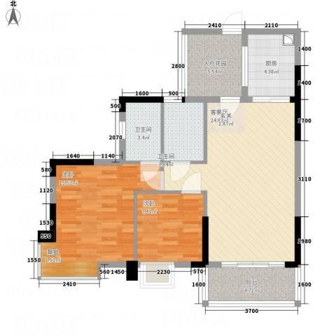 凯旋美域2室1厅2卫1厨100.00㎡户型图