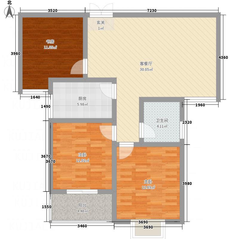 乾达・又一城114.00㎡C户型3室2厅1卫1厨