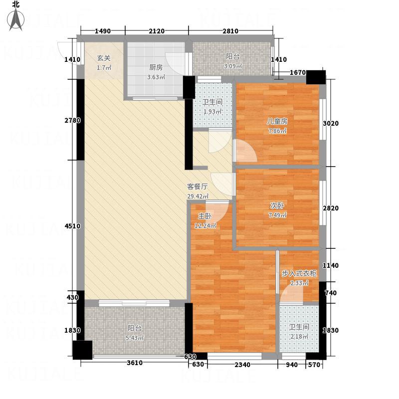 汇东星城56.20㎡标准层A5户型3室2厅2卫