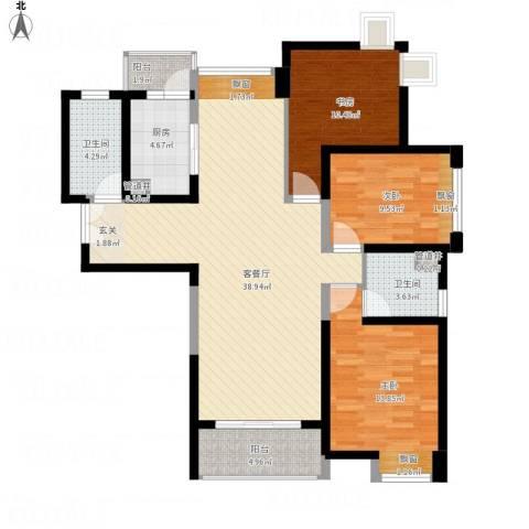 无锡海岸城3室1厅2卫1厨134.00㎡户型图