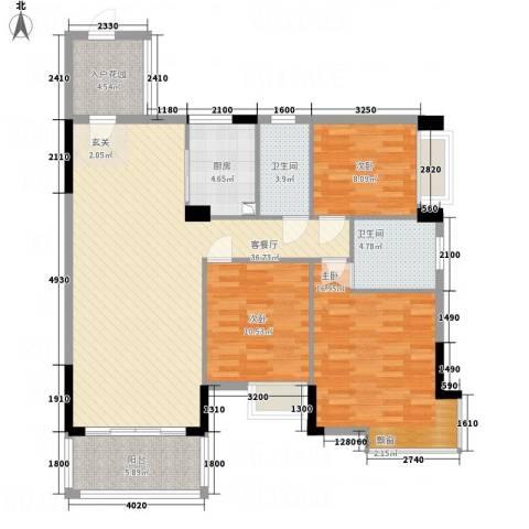 凯旋美域3室1厅2卫1厨135.00㎡户型图