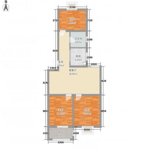 泰顺佳园3室1厅1卫1厨106.00㎡户型图