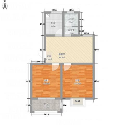 泰顺佳园2室2厅1卫1厨79.00㎡户型图