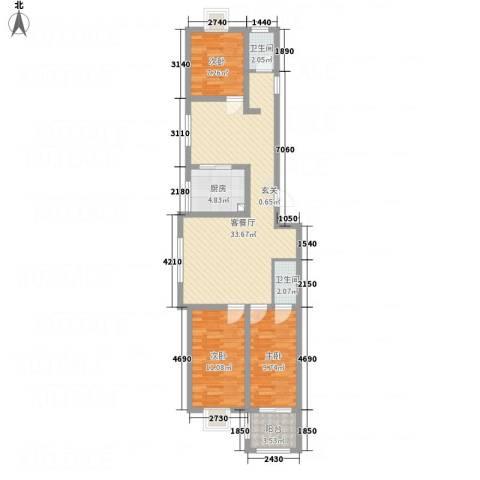 泰顺佳园3室1厅2卫1厨109.00㎡户型图