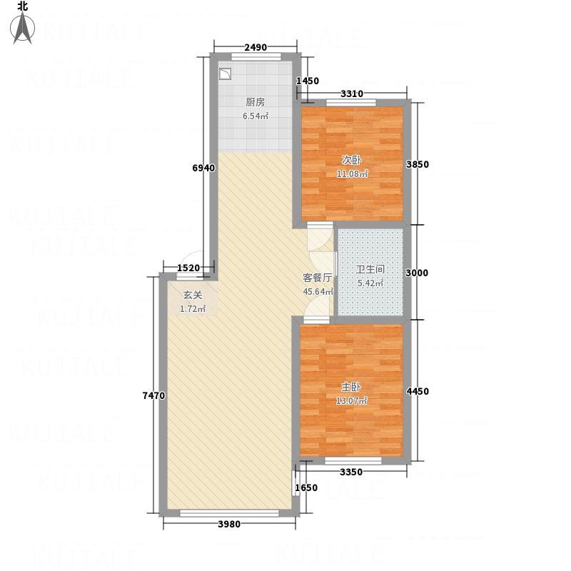 南山鑫苑C-1户型2室1厅1卫