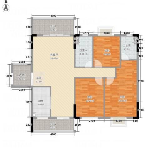 御品蓝湾3室1厅2卫1厨143.00㎡户型图