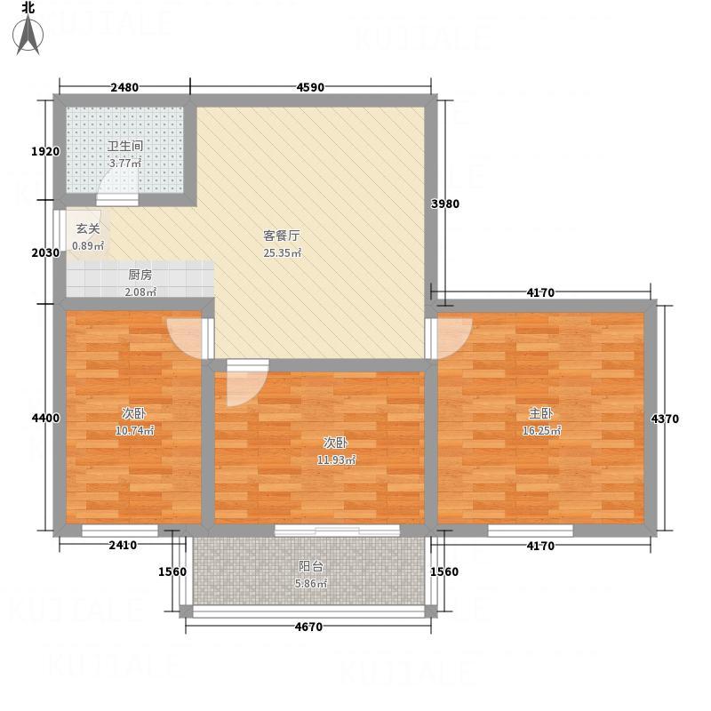 林州万和园15.77㎡8户型3室2厅1卫1厨