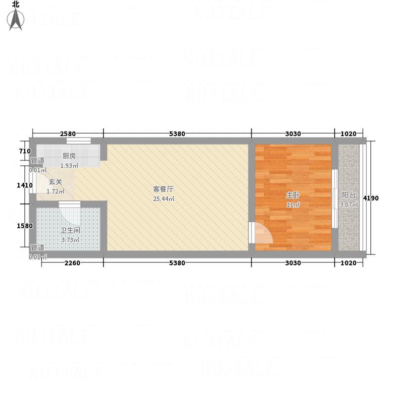 林州万和园62.81㎡6户型1室2厅1卫1厨