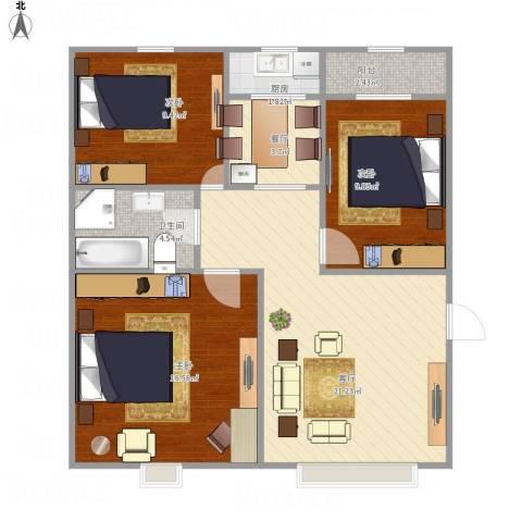 育阳小区3室2厅1卫1厨94.00㎡户型图