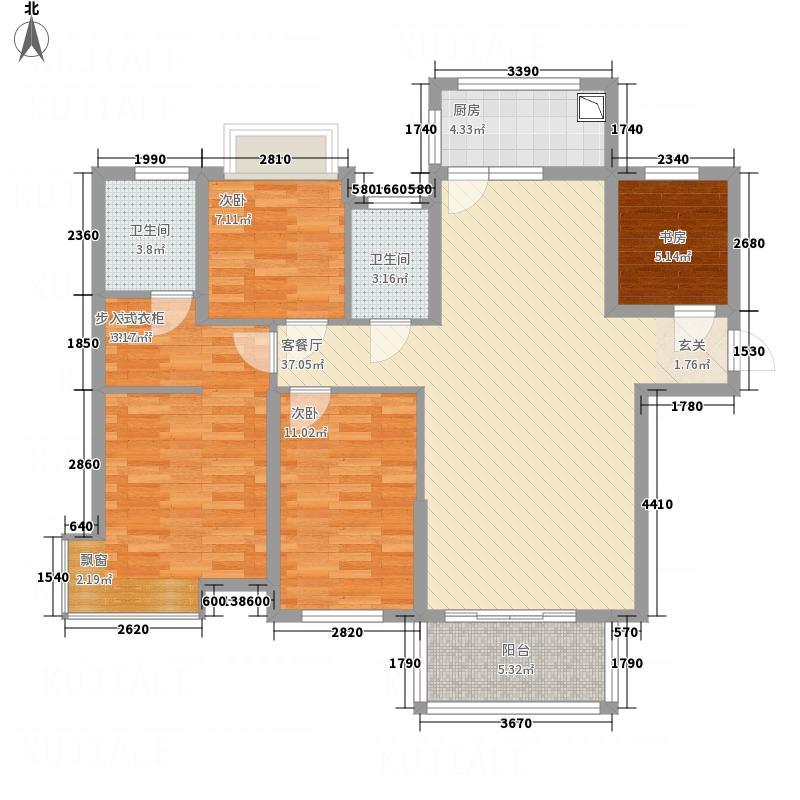 海翼左岸名都136.20㎡海翼・左岸名都3阳台户型4室2厅2卫1厨
