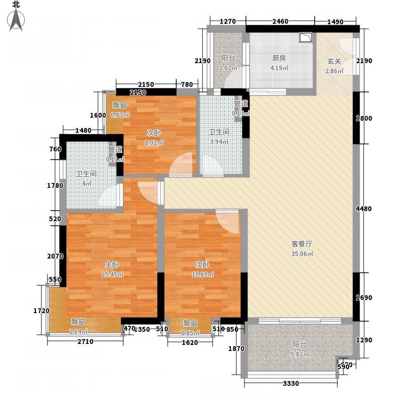 御品蓝湾111.00㎡C、G栋02户型3室2厅2卫1厨