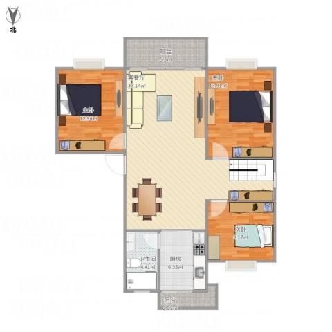 文峰小区3室1厅1卫1厨117.00㎡户型图