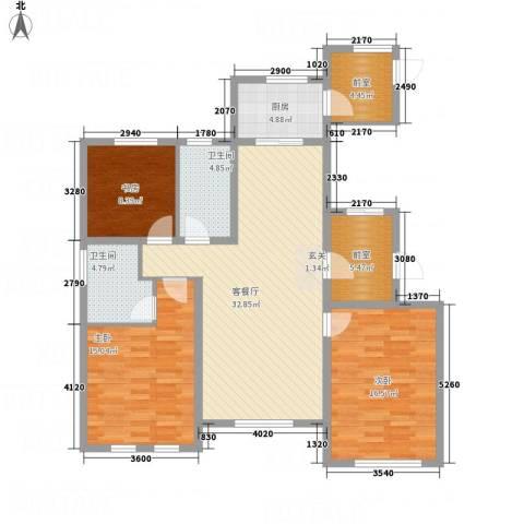 牡丹城3室1厅2卫1厨97.31㎡户型图