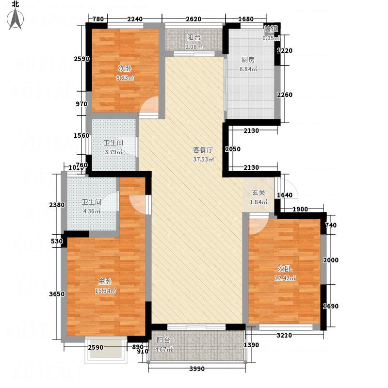 华都馨苑137.82㎡二期B户型3室2厅2卫1厨