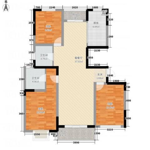 华都馨苑3室1厅2卫1厨138.00㎡户型图