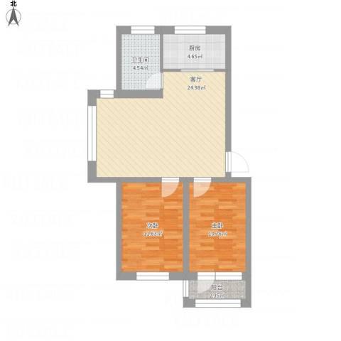 襄平蓝庭87.12-87.132室1厅1卫1厨86.00㎡户型图
