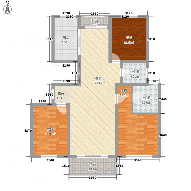 华都馨苑135.84㎡F户型3室2厅2卫1厨