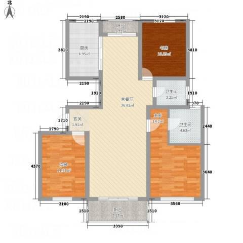 华都馨苑3室1厅2卫1厨108.67㎡户型图