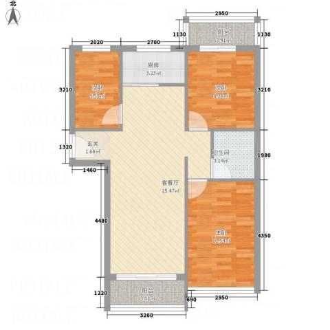 凤凰湖3室1厅1卫1厨88.00㎡户型图