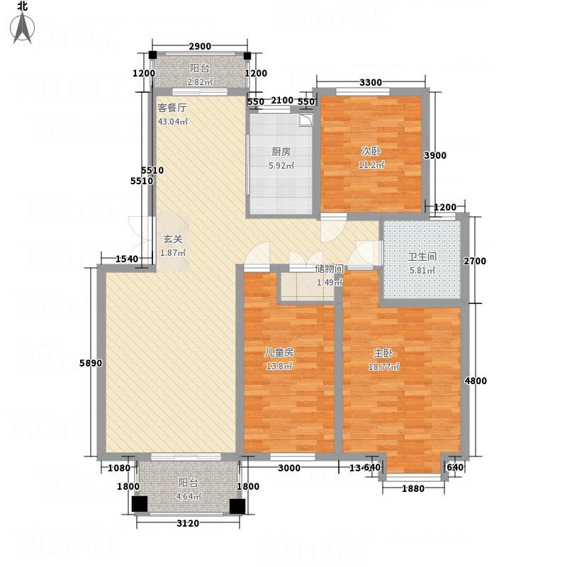 富馨花园12.00㎡B1户型3室2厅1卫