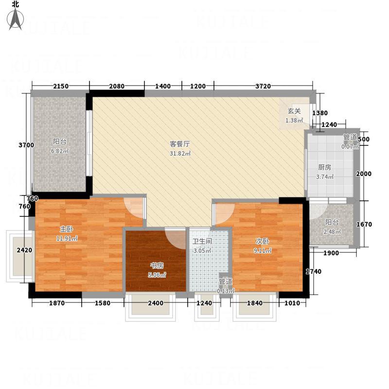 世纪名门8.30㎡2栋03户型3室2厅1卫1厨