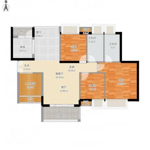 中熙弥珍道3室1厅2卫1厨134.00㎡户型图